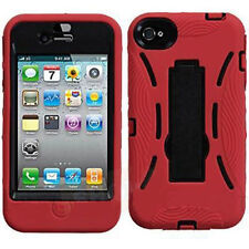 Apple iPhone 4 4S Red/Black Dual Stand Cover Armour Protection Case With Stand
