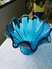 Vtg Blue Mid Century Modern L. E. Smith Simplicity ART GLASS Handkerchief Vase