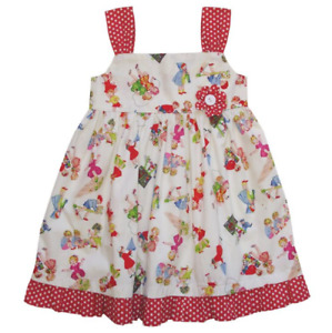 Girls Vintage Inspired Print Dress By Powell Craft England 100% Cotton Age 6-7