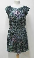 ELIE TAHARI Ladies Green Sequinned Elastic Waist Sleeveless Dress Size S