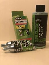 Slime tubeless sealant 4oz bottle with 2 threaded 16 gram Co2 cartridges Bundle