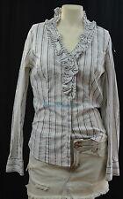 WHBM White House Black Market button Top blouse shirt ruffle sexy SZ 10 slim NEW