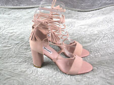DUNE London size 5 'Margot Ghillie'  Nude Block Heel Sandals EU 38 Lace Up Ankle