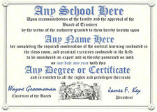 Custom Diploma - Choose Your Own Degree and School Name Man Cave