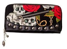 BANNED crâne & Roses Gothique porte-monnaie sac à main rockabilly tattoo pin up noir rouge cadeau