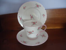 shelley bone china rose spray 13545 tea cup & saucer plate trio pink