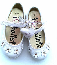 Baby Infant Girls White Leather Upper Ballet Shoe With Flower Detail  UK5/EU22