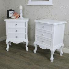 Pair white bedside table  vintage French shabby chic ornate bedroom furniture