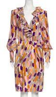 ESCADA Silk Long Sleeve V Neck Ruffle Collar Dress-Size 40 US 10/12
