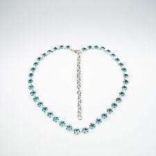 Damen Kette Collier Tennis 925 Silber Versilbert Swarovski Kristalle Türkis Blau