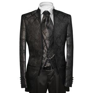 Slim Fit Hochzeitsanzug in Schwarz mit Silber Muster Glanz -Anzug-Bühne-Sakko