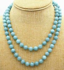 "48"" Long Genuine Natural 10mm Blue Brazil Aquamarine Beads Jewelry Necklace"