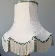 "VINTAGE IVORY DAMASK LAMPSHADE WITH GREEN TASSELS / BRAID 16"" W X 15"" TALL"