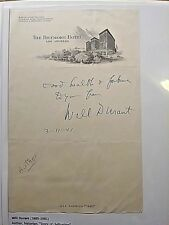 Vintage 1941 Will Durant Author Signed Autograph on Note from Biltmore Hotel LA.