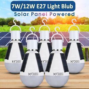 5PC E27 Solar Panel LED Bulb Light Portable Outdoor Garden Camping Tent LamP 12W