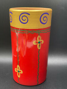 Pier 1 Imports Round Vase Terracotta Hand Painted Red/ Gold/ Blue Italy
