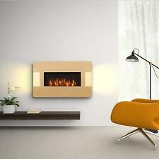 Wall Mounted Electric Log Fire Fireplace Black Curved Glass Heater Pifco 2000w