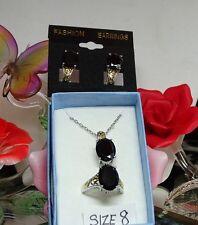 Thai Black Spinel 3PC SET IN 14K RG 925SS Omega Clip Earrings, Ring SZ 8 Pendant