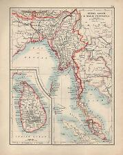 1909 Carte ~ Inde ~ Burma Assam & Malay Peninsula ~ Médaillon Ceylan