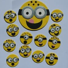 LARGE 12cm MINION & 12 edible YELLOW MINION icing CAKE CUPCAKE topper decoration