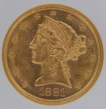 1881-S $5 Gold Liberty Head NGC MS62