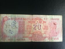 Reserve Bank Note of India 20 rupees RARE-BEFORE GANDHI circulated FREE SHIPPING