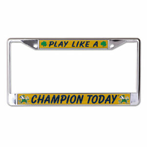NOTRE DAME FIGHTING IRISH PLACT CHROME METAL LICENSE PLATE FRAME NCAA LICENSED