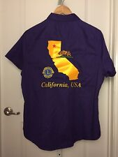 Lions International MD-4 Gold Purple Embroidered Button Down T-Shirt Size XL