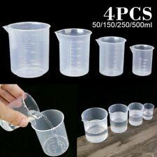 4 Stück Kunststoff 50-500ml Messbecher Für Laborbecher Küche Flüssige Kanne