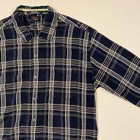 Tommy Jeans Tommy Hilfiger Mens XL Blue Plaid L/S Button Shirt VTG
