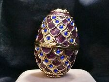 """""""Look"""" Vintage Purple and Gold Mini Faberge Egg Crystals Jewelry Trinket box K"""