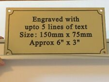 SOLID BRASS PLAQUE 150mm x 75mm x 1.5mm ENGRAVED INCLUDING BRASS SCREWS