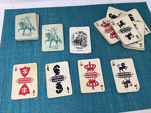 Antique European Rumme Rummy 53 Card Game Unicorns Crowns Shields Helmets