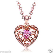 NEEMODA Rose Gold Plated Heart Pendant Pink Crystal Necklace Women Jewelry Gifts