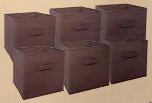 Foldable Storage Cube Decorative Fabric Storage Cubes Set Of 6, Gray, NEW
