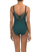 Orig. $108 Gottex Profile Swimsuit 14 Dark Green One Piece Strappy Java V Neck