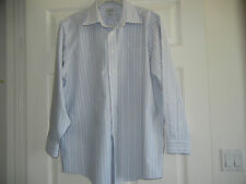 LL Bean Blue Striped Men's Shirt, Size 16 1/2 - 33, 100% Cotton