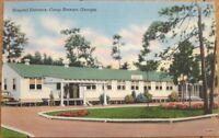 1940s Linen Postcard: 'Hospital Entrance - Fort/Camp Stewart, Georgia GA'