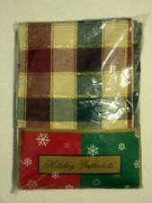 CHRISTMAS Holiday Tablecloth 60 x 84 Oblong Table Cotton Multi-colored Checkered