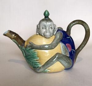 Victorian Minton Majolica Monkey Teapot #1844