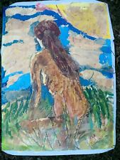 NUDE IN GRASS C by Ruth Freeman  MIXED MEDIA ON UNSTRETCHED CANVAS 20  X 24
