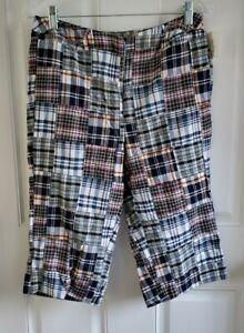 Cambridge Dry Goods Womens Madras Plaid Patchwork Shorts 10 Petite 10P New
