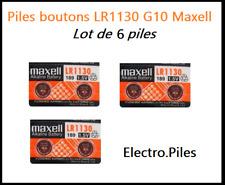 Lot de 6 Piles bouton LR1130 G10 de marque MAXELL, livraison rapide et gratuite
