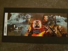 Bloc de 5 timbres non oblitérés de la série Game of Thrones. Neuf**