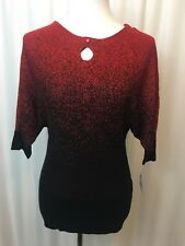 NY Collection Womens Sweater Keyhole Black Red Sparkle Dolman Sleeve NWT Sz XS