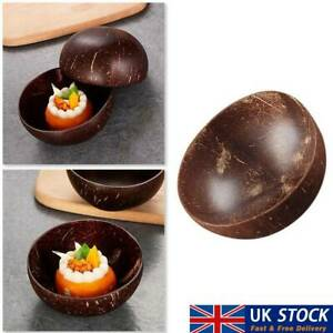 Wooden Salad Bowl Coconut Shell Natural For Food Smoothie Oatmeal Fruit Nuts UK