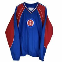 Chicago Cubs V-Neck Pullover Jacket Men's Large Blue Red Genuine MLB Spell Out