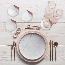 Hexagon Marble Rose Gold Set of 4 Drink Coasters Bar Coasters or Home Décor
