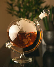 More details for 700ml glass globe decanter carafe world whisky wine whiskey gift vintage spirit