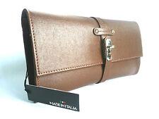 MADE IN ITALIA - ITALIAN MADE LEATHER CLUTCH BAG SPOLETO-BROWN - 25,000+ F/BACK